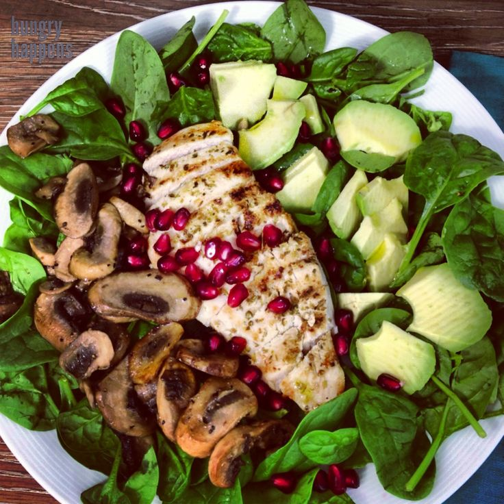 Best grilled chicken salad with sautéed mushrooms, avocado & pomegranate and olive oil - lemon dressing. Recipe for 4 servings. Ingredients: 1.5 lbs organic free range chicken breasts, sliced...