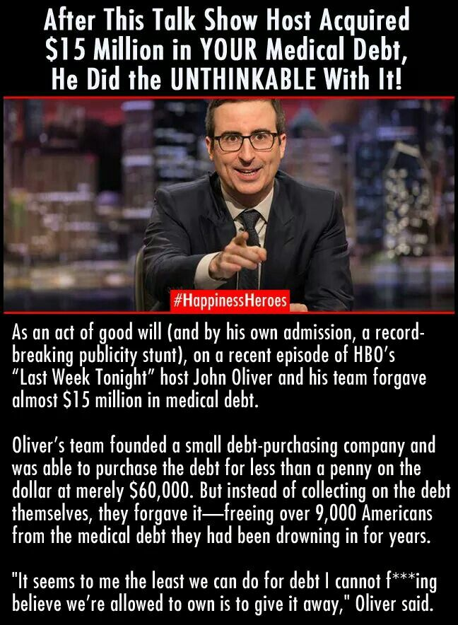 That's amazing. Random acts of kindness--pay it forward, if we all did one or the other every week what would the world be like? John Oliver is a treasure!