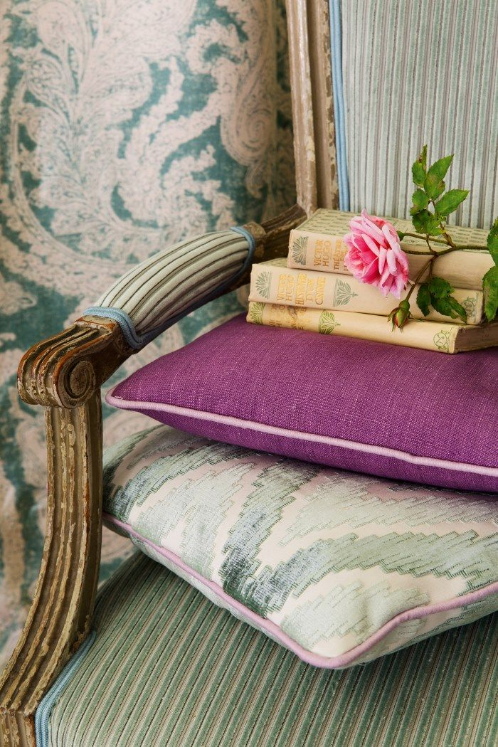 Manuel Canovas fabrics.  Pretty pic.  Use a taupe color for bedside bench.  From Cowtan & Tout.