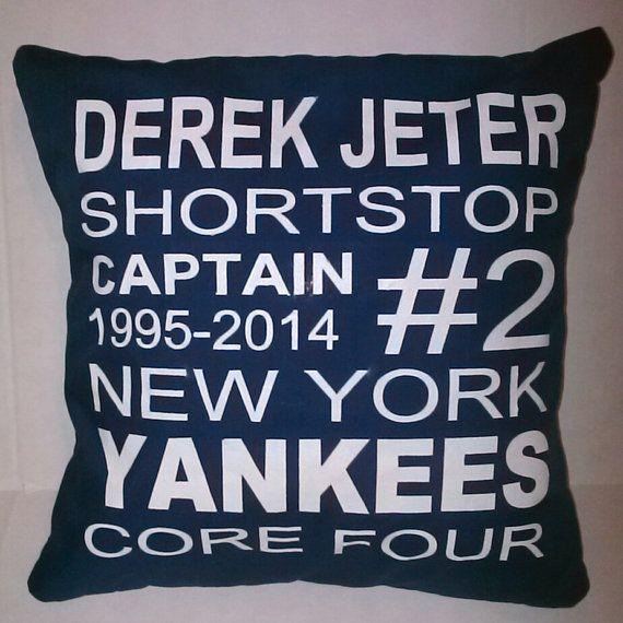 subway art derek jeter pillow by GlorivettesCreations on Etsy, $30.00