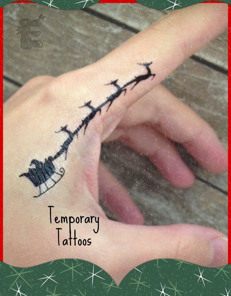 Santa's Sleigh Temporary Tattoo - Finger Tattoo - small tattoo - Christmas Tattoo - Reindeer Tattoo (set of 2) by etchythings on Etsy