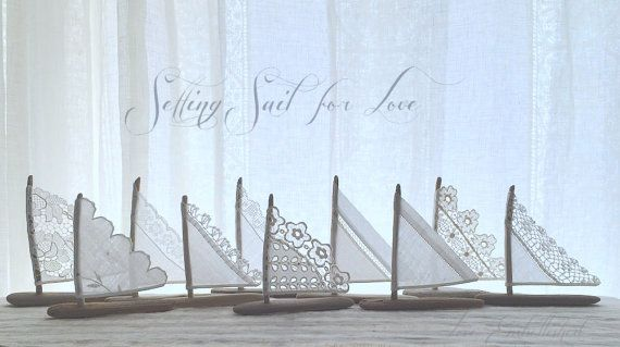 One 5 inches to 5.75 inches Tall Driftwood Sailboat with Antique Lace or White Linen Sails Cake Topper Wedding Favors Sailing Beach Decor