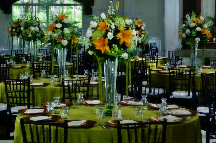 orange & green wedding
