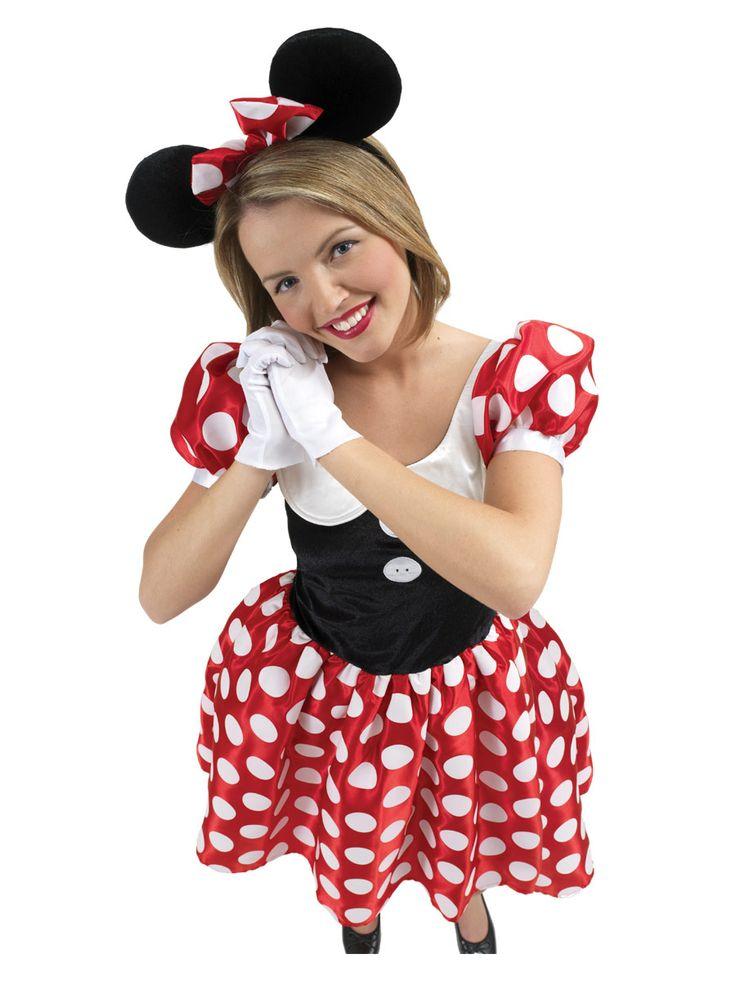 Minni Hiiri. Asu sisältää punaisen mekon valkoisilla palloilla, valkoiset hanskat ja rusettipannan hiirenkorvilla.