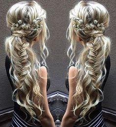 messy boho ponytail with fishtail braid                                                                                                                                                                                 More