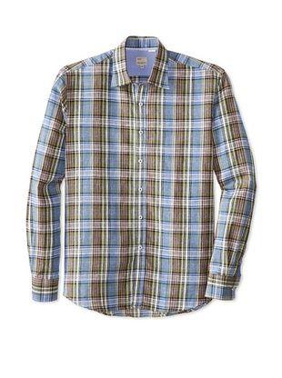 63% OFF Mason's Men's Linen Plaid Long Sleeve Sportshirt (Green)