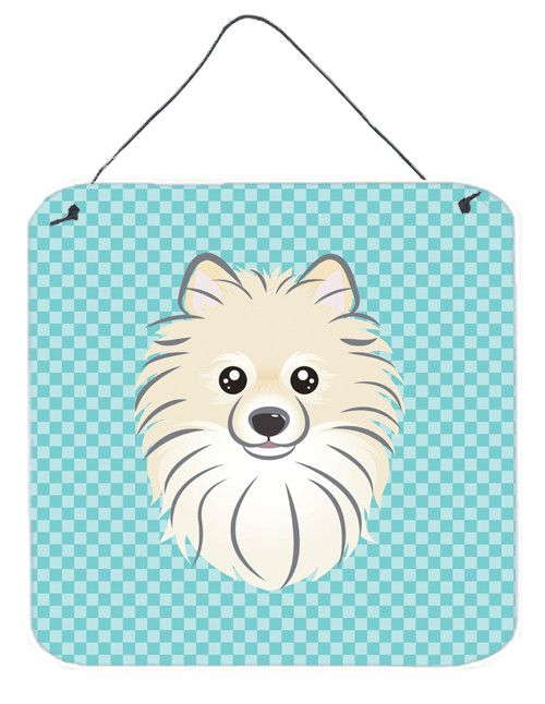 Checkerboard Blue Pomeranian Wall or Door Hanging Prints BB1145DS66