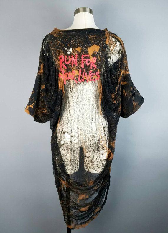 Vintage déchiqueté détruit T Shirt Iron Maiden Run pour les