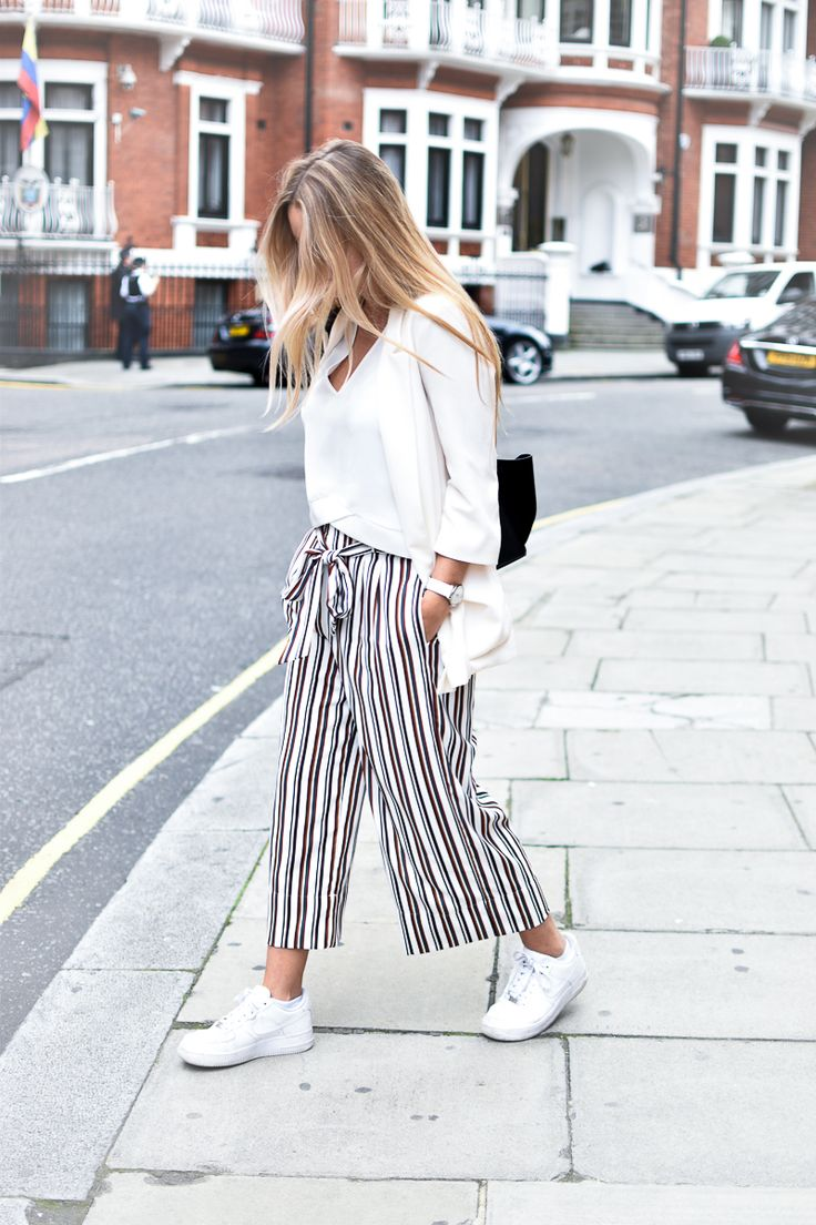 Jupe culotte / white look / nike air force 1 / Céline trapèze / London