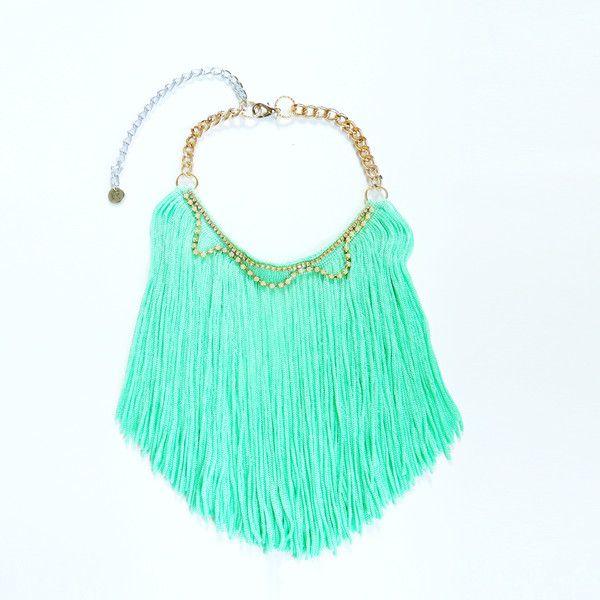 Collane lunghe - Collana fringe, collana menta, bohemien chic, boho - un prodotto unico di JewelryLanche su DaWanda