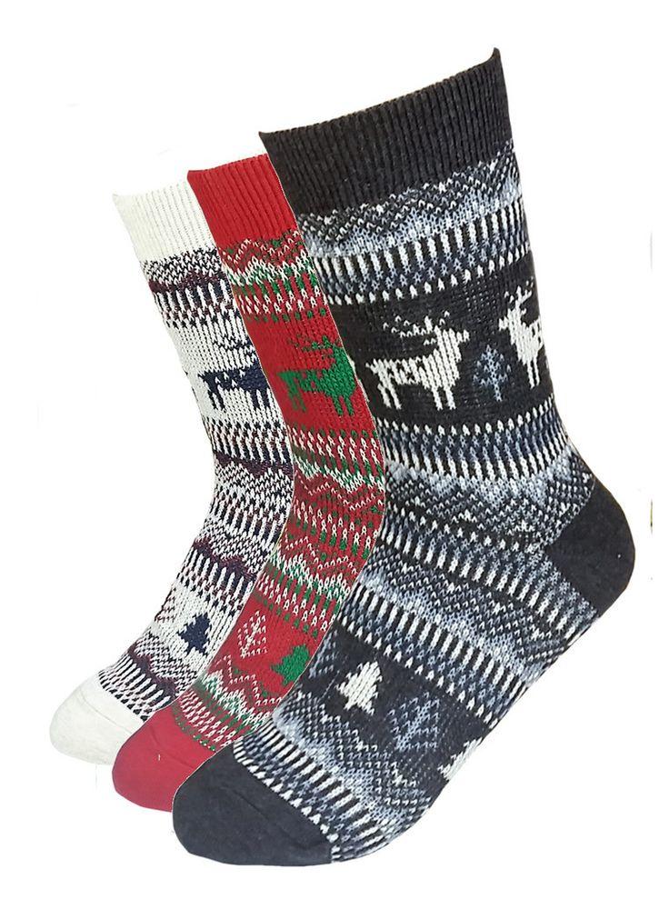 Women's 3 Pair Pack Woven Knit Reindeer Winter Short Crew Socks – JJMaxUS