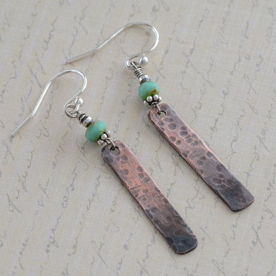 Hammered Oxidized Copper Bar Earrings Wire Wrapped Turquoise Czech Glass Sterling Silver Mixed Metal Jewelry for Women