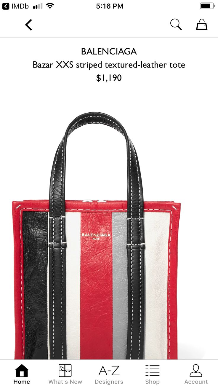EXCLUSIVE AT NET-A-PORTER.COM. Originally inspired by plastic carrier bags used in Thai street markets, Balenciaga's striped 'Bazar' range is made from textured-leather. This cherry, gray, black and white 'XXS' version has the style's signature top handles, but is also equipped with a detachable cross-body strap so you can go hands-free. It's part of a collection Demna Gvasalia designed exclusively for us, so is sure to become a collector's piece.