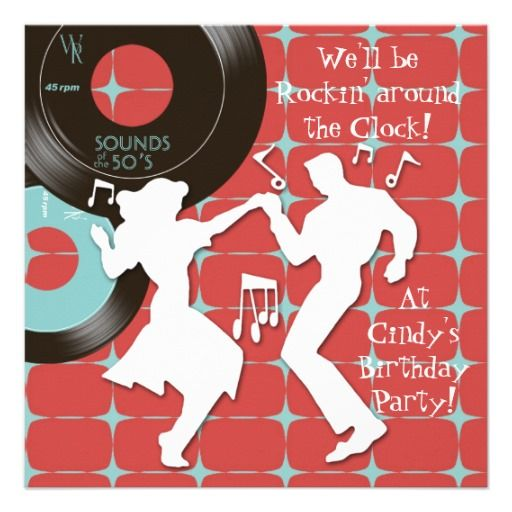Fabulous fifty sock hop rock n roll 1950's style teal blue & 45 rpm vinyl records dance party invitations. Fun and nostalgic retro 1950 party invitation is easy to customize for your party or event by adding your event details, font style, font size & color, and wording.