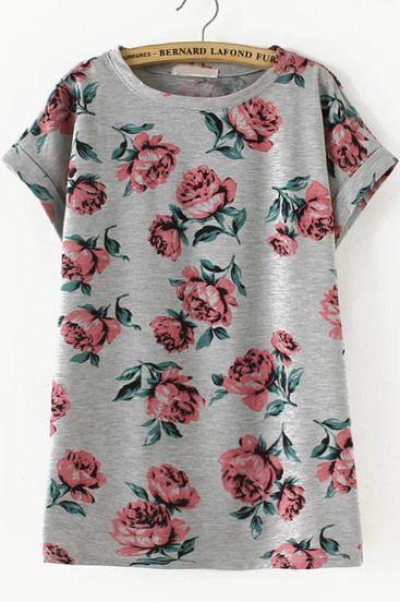 Grey Short Sleeve Floral Loose T-Shirt