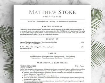 Professional Resume Template for Word, Pages and OpenOffice / Simple Resume Design | Professional CV Template | Instant Download Resume