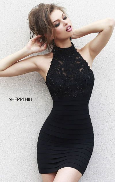 Sherri Hill 32048 Beaded Embellished Black Bandage Homecoming Dress