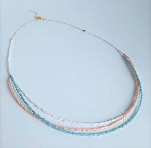 Multi-color Pastel Beaded Necklace // Multi-strand Beaded Necklace // Collar…