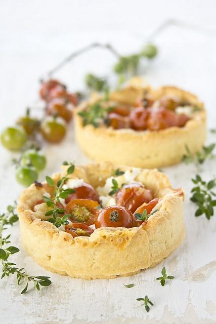Wonderfully yummy looking little Thyme and Mini Tomato Tarts