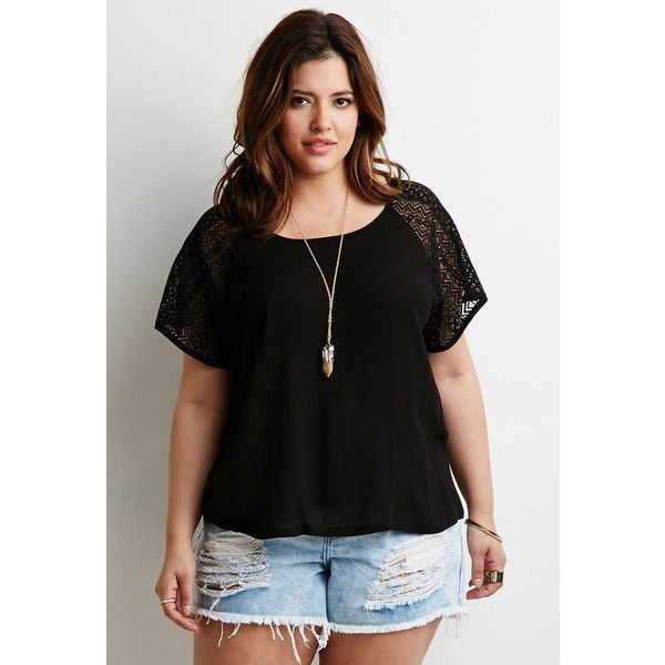 Forever 21 Plus Women's  Plus Size Chevron Lace Raglan Tee ($18) ❤ liked on Polyvore featuring plus size women's fashion, plus size clothing, plus size tops, plus size t-shirts, short sleeve tops, raglan tee, raglan t shirt, plus size tees and lace t shirt