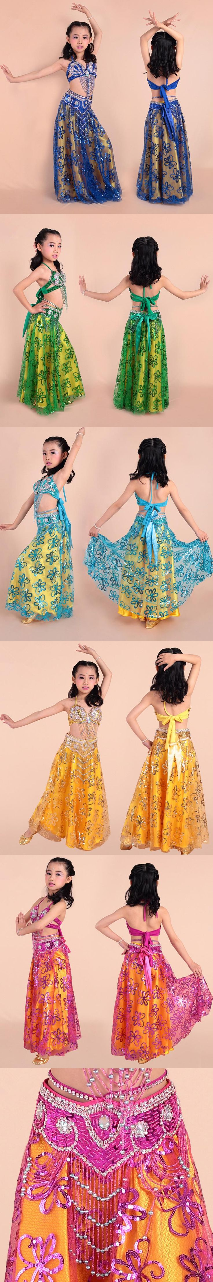Bright Spot Girl Belly Dance Costumes Children Bellydance Costume for Girls Belly Dance Bollywood Dance Cloth danza del vientre