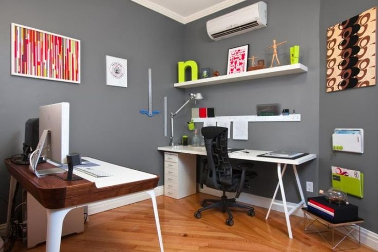 bureau à domicile moderne: murs gris et accents vert anis