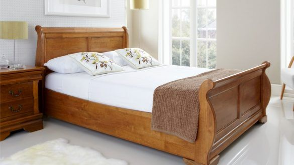 Bedroom Superior Sled Bed Frame Louie Wooden Sleigh Oak Finish