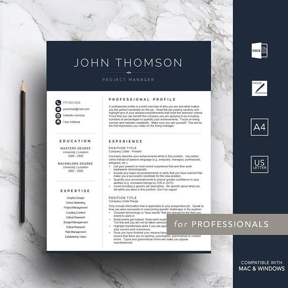 Navy blue resume template for Word and Pages Get a head start on your job application by purchasing a professional resume template. Stand out from the competition with this blue 1, 2 & 3 page resume template (includes cover letter, references page, customizable letterhead & icon