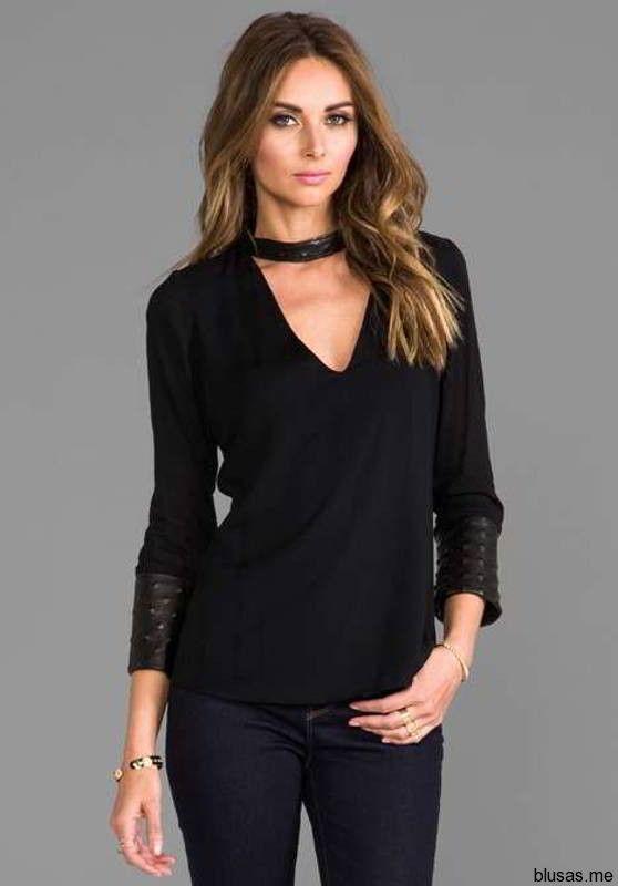 Blusas negras de manga larga para fiesta 2014 – 17 - https://blusas.me/blusas-negras-de-manga-larga-para-fiesta-2014/blusas-negras-de-manga-larga-para-fiesta-2014-17/