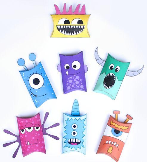 Cajas Almohada de Monstruos para Imprimir Gratis. | Ideas y material gratis para fiestas y celebraciones Oh My Fiesta!