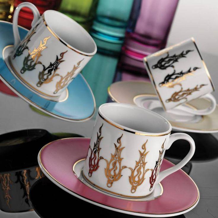 Kutahya Porcelain Multicolour Ottoman Motif Turkish Coffee Set of Six