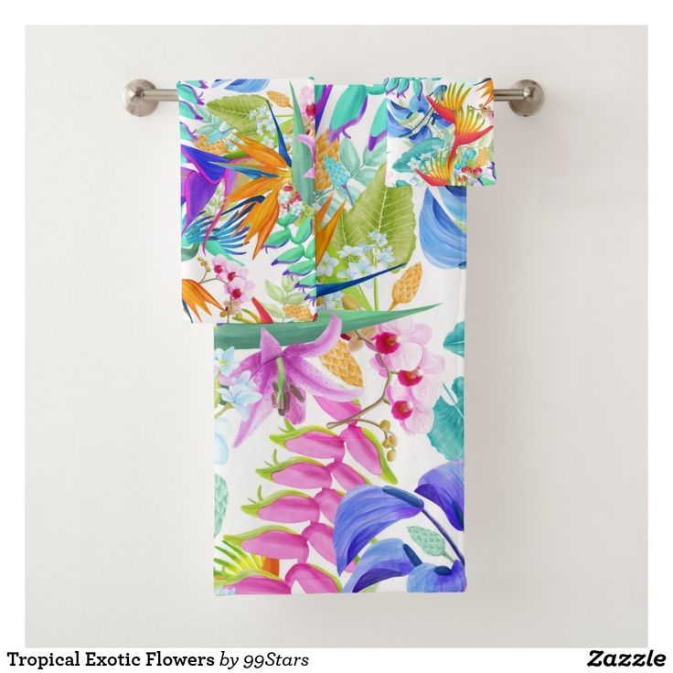 Tropical Exotic Flowers Bath Towel Set