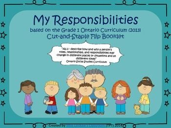 """This booklet fits with the new (2013) Ontario Social Studies curriculum for Grade 1 - Our Changing Roles and Responsibilities.** This is part of my Grade 1 Social Studies Kit (Ontario Revised Curriculum, 2013)Students will:- write the word """"responsibility"""" on primary printing lines- define the word- write or draw own responsibilities at home- write or draw own responsibilities at school- write or draw own responsibilities in the local community- write or draw own responsibilities to the…"""