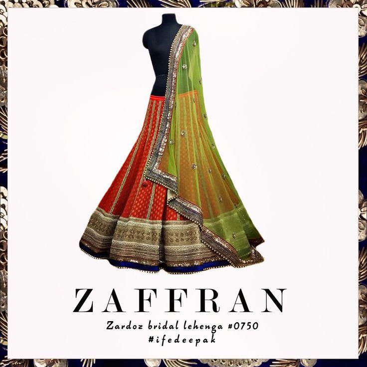#ZAFFRAN | #Zardoz & #Gota detailing on #bridal lehenga ensemble #IFE0750. For details, contact: ife.deepak@gmail.com | Whatsapp: +44 774 165 4871