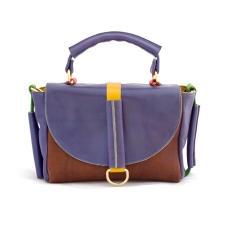 Mumu Dina Blue Brown Leather Bag