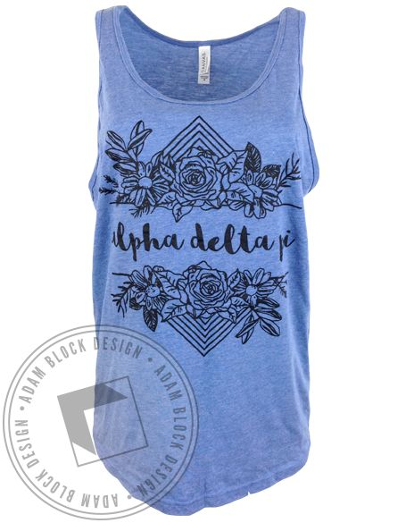 Alpha Delta Pi Floral Tank by Adam Block Design | Custom Greek Apparel & Sorority Clothes | www.adamblockdesign.com