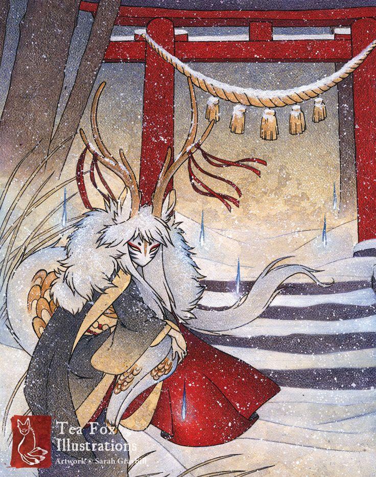 La porte du sommet / cerf Kirin Yokai par TeaFoxIllustrations