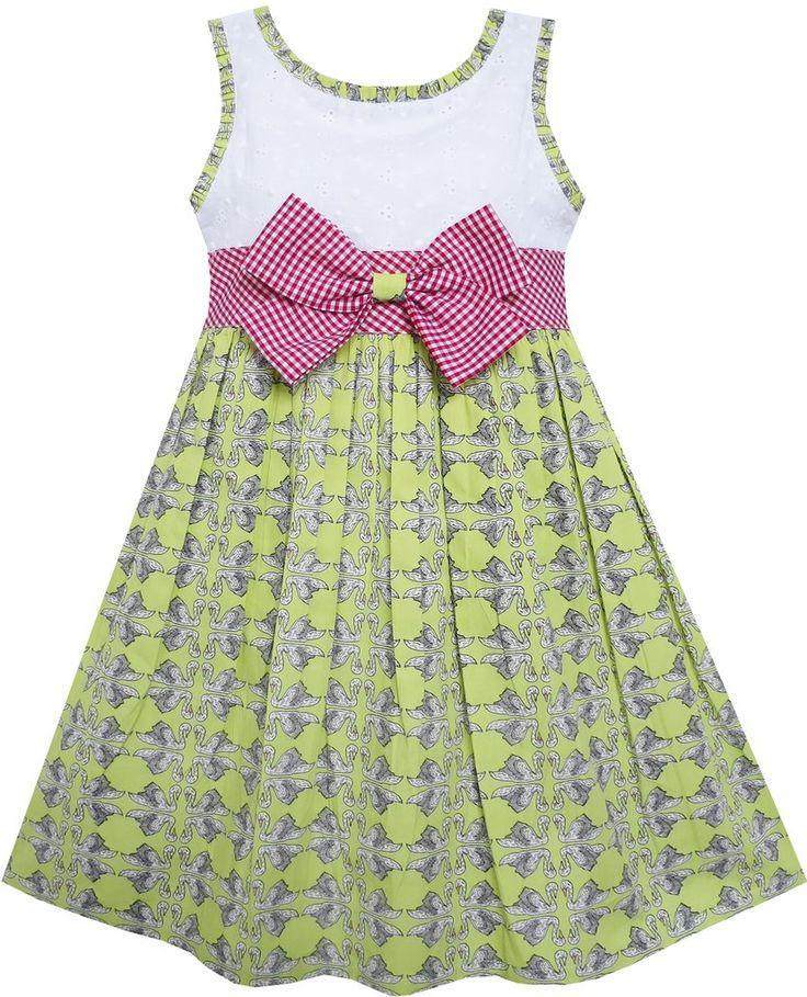 Girls Dress Bow Tie Swan Print Princess Cotton Green Size 4-10 Years