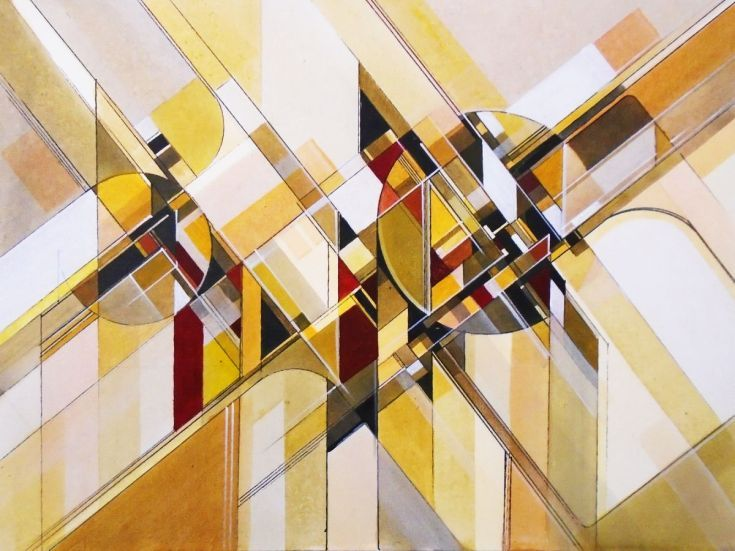 ARTFINDER: Intersections II by Liam Hennessy - 60cm x 45cm x 4cm Original abstract painting on stretched canvas  This work was inspired by Futurism and Vorticism, and the utopian promise of 20th century...