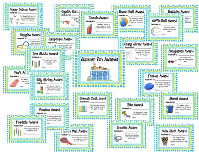 End of the Year Awards with a summer fun theme!  You can get all the award goodies for a dollar at Wal-Mart or the Dollar Store!  Cheaper than candy bars!