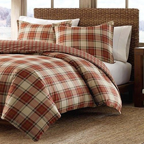 Red Plaid Full Queen Size Duvet Cover Set Cabin Themed Lodge Country Checkered Bedding Squared Tartan Madras Rustic Lumberjack Pattern Cottage Checked - Diamond Home USA
