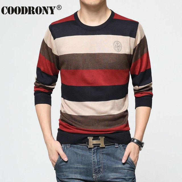 Free Shipping Autumn Winter Wool Sweater Men Fashion Striped Slim Fit Pull Homme Marque Pullover Men Sweaters Jersey Hombre 6660