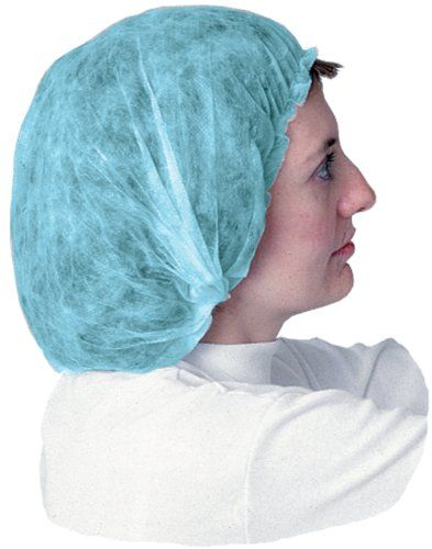 """Impact 7387B24 Spunbonded Polypropylene Non-Woven Bouffant Cap, 24"""" Diameter, Blue (10 Bags of 100). The elastic components in Impact's disposable clothing are made of 100 percent latex free materials. Made of spunbonded polypropylene. Non-woven bouffant cap. Great for hospitals, lab work, food processing and handling, manufacturing. 24"""" Diameter. Blue color."""