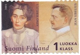 A stamp featuring Mr. Sibelius and his wife. #Sibelius #Stamp