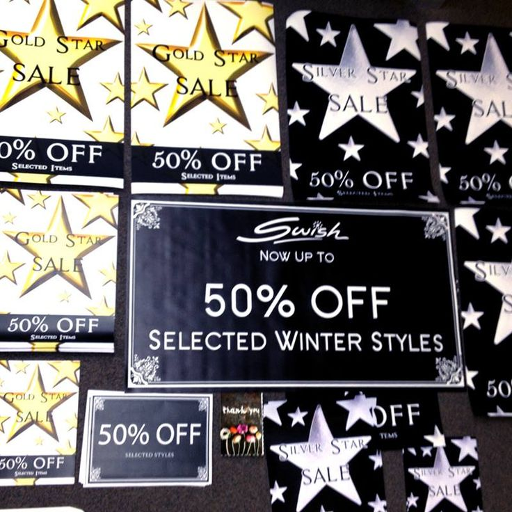 New sale signs for #Swish! Sending out to let everyone know we are now up to 50% off! Simply find a garment with a gold or silver sticker and it is 50% off original price! Now in store at Albury, Bowral, Orange, Dickson & Mosman or online! #plussizedress #curveyfashion #shoponline #loveshopping #shopaholics #wintersale http://bit.ly/SwishWinterSale
