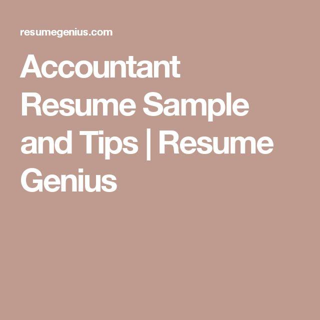 Accountant Resume Sample and Tips | Resume Genius