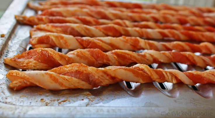 Crispy Twisted Bacon With Brown Sugar and Adobo Sauce by thewickednoodle: No flipping or turning, just pop it in the oven until it's done! #Bacon #Twist #thewickednoodle
