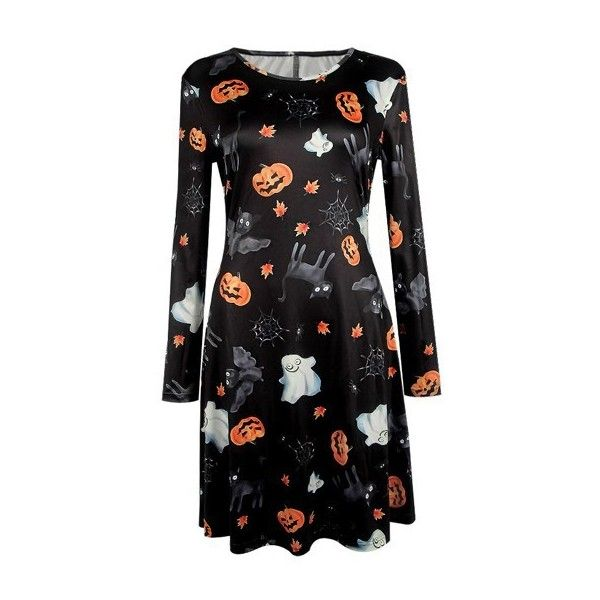 Rotita Ghost and Pumpkin Print Halloween Dress ($23) ❤ liked on Polyvore featuring costumes, dresses, black, ghost halloween costume, pumpkin halloween costume, ghost costume and pumpkin costumes