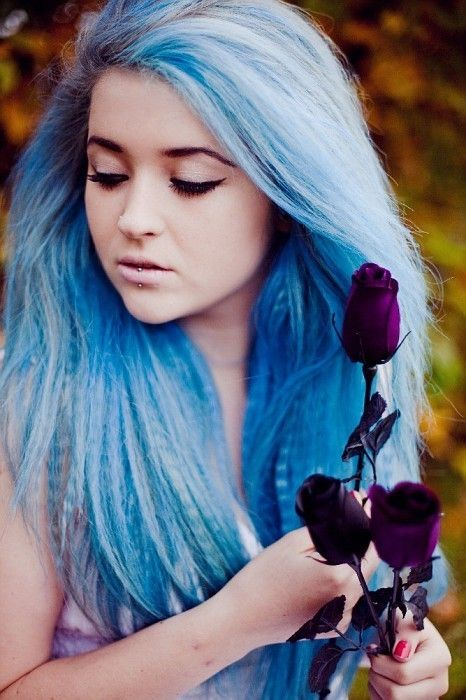 Pastel blue and white crimped hair :) | Colored Hair ...