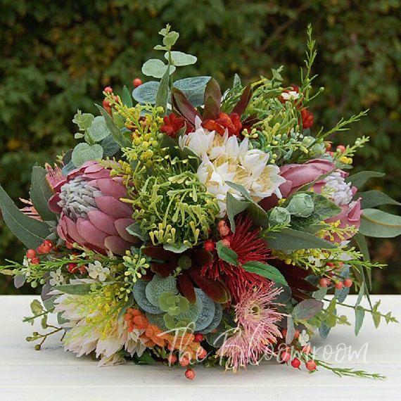 Mixed native flowers / Australian native / Native flowers / Red / Sage Green / Yellow / Light pink / Country wedding / Garden wedding